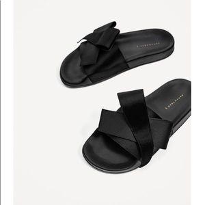 Zara black satin bow slides